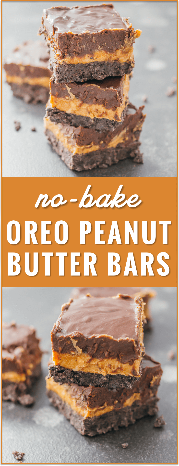 These no-bake Oreo peanut butter bars with chocolate chips are an easy summertime dessert with three delicious layers. recipe, cream cheese, healthy, 6 ingredients, squares, oatmeal, without graham crackers,