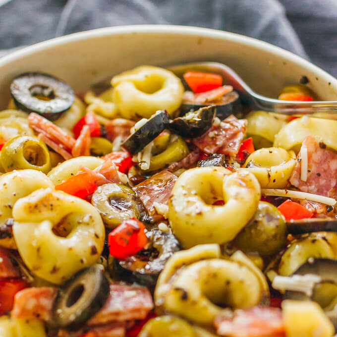 Quick and easy tortellini pasta salad with Italian dressing