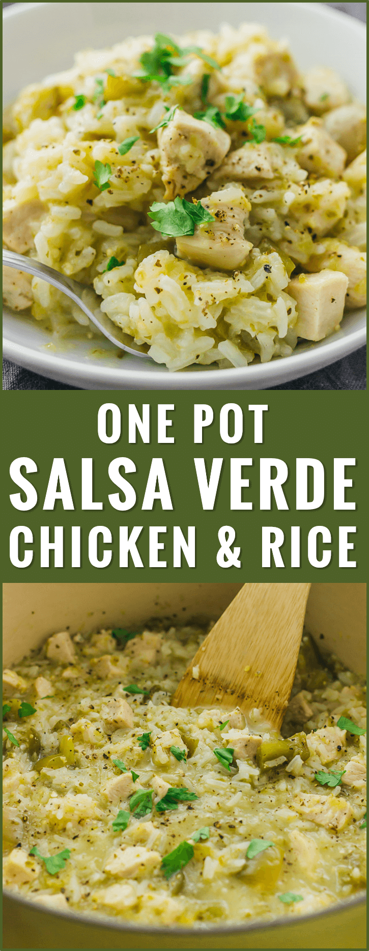 Try this quick and easy recipe for salsa verde chicken and rice -- just 6 ingredients and 1 pot needed. healthy, creamy, soup, skillet, low carb, skinnytaste, whole 30, thighs, paleo, oven, sides, honey lime, delish, bowl, weight watchers, trader joes, ideas, homemade, 21 day fix, meals, instapot, dishes, 4 ingredient, shredded, dinner, quick, keto, pozole, green, six sisters, tasty, stove top, iowa girl eats, clean, comfort foods, simple, families, weeknight meals, cilantro, kitchens, veggies, cleanses, friends, snacks, parties