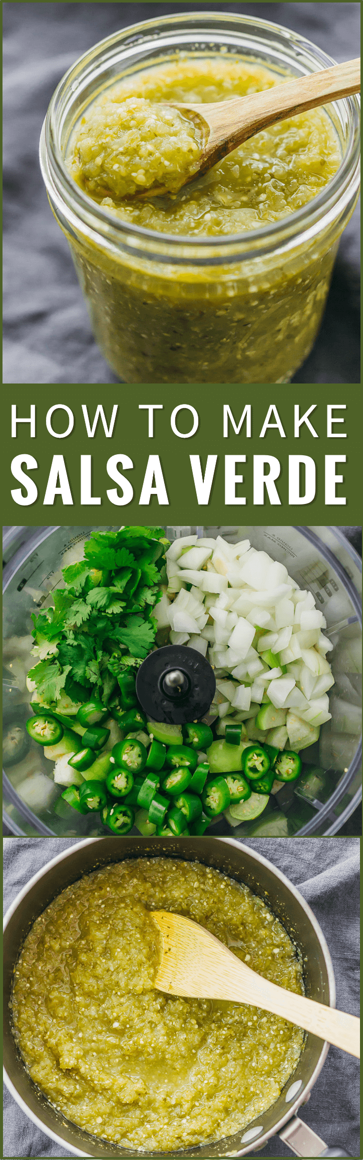 Here's a step-by-step foolproof recipe on how to make salsa verde! It's so easy to make this at home using pureed tomatillos, serrano peppers, onion, cilantro, and lime. tomatillo sauce, tacos, enchiladas, mexicana, roasted, authentic, creamy, receta, spicy, green, dip, chili, sauce, how to make, vegetarian, vegan, uses, tomato, dinner, fresh, hot, best, dishes, cilantro, mild, simple, gluten free, low carb, lime juice, onions, garlic clove, mexico, water, food processor