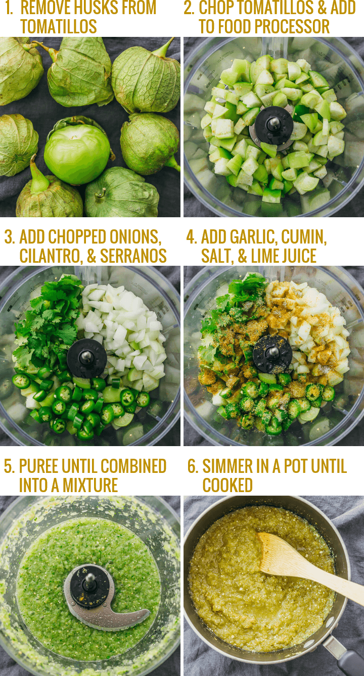 Step by step collage showing how to make salsa verde recipe, which is a sauce with pureed tomatillos, chili peppers, onion, cilantro, lime, and other seasonings