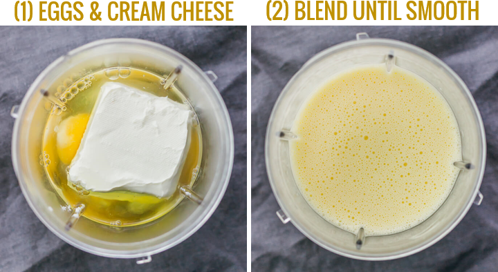 step by step images showing how to make flourless crepes with eggs and cream cheese