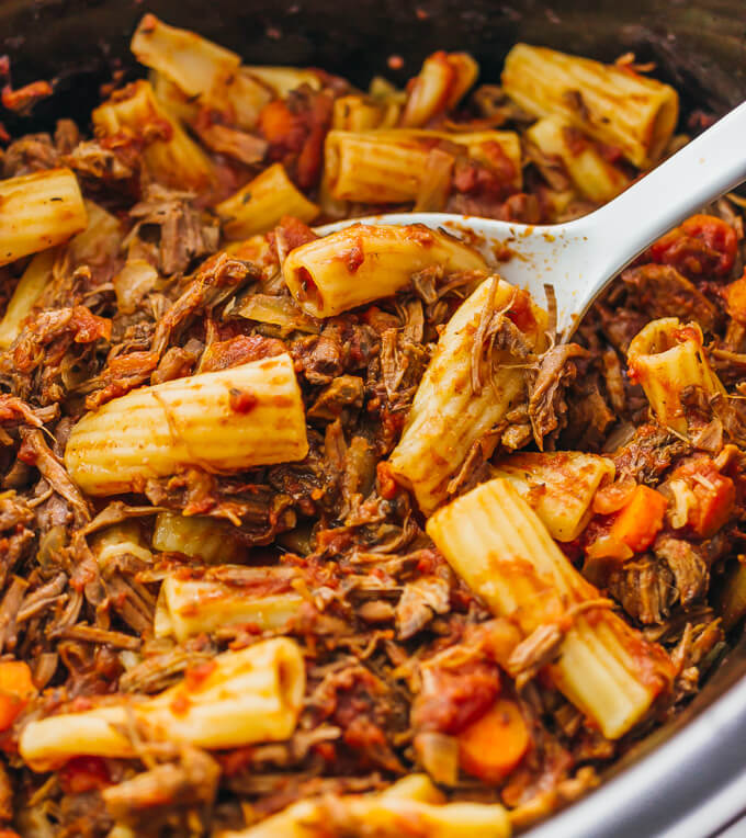 Tender shredded beef ragu sauce paired with rigatoni pasta