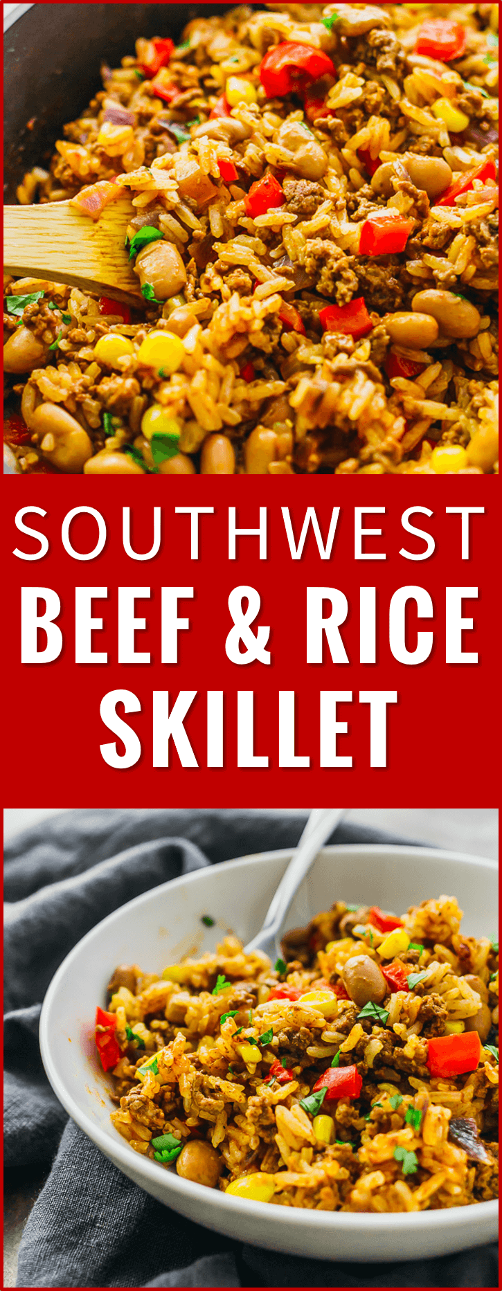 Southwest beef and rice skillet - This tasty Southwest skillet has ground beef, rice, peppers, onions, pinto beans, corn, and a dash of cayenne -- all cooked together in one pan. recipe, recipes, cooking, stir fry, mexican, easy, healthy, bowl, tex mex, dinner, one pot, dishes, crisp, meat, tomatoes, pf changs, lunches, red beans, ovens, quick meals, cups, house