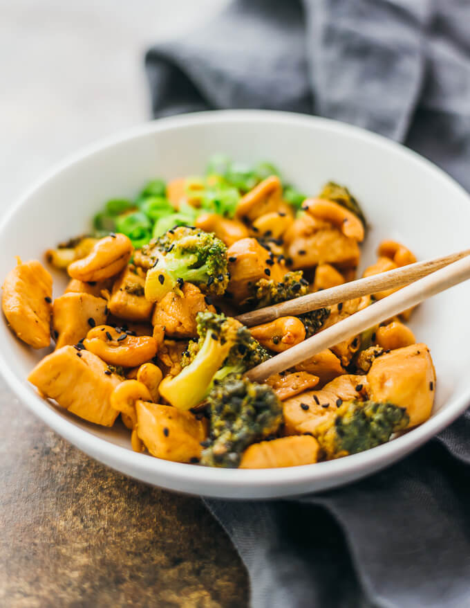 close up view of cashew chicken and broccoli