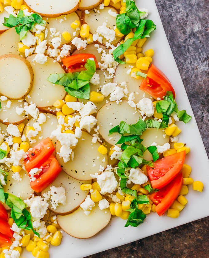 Red potato salad with balsamic horseradish dressing - Savory Tooth