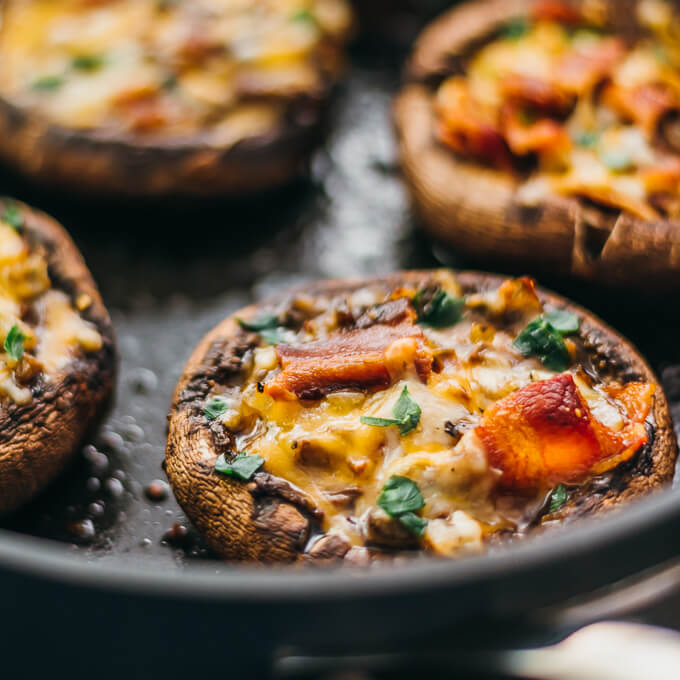 These easy and low carb portobello mushrooms are stuffed with cheddar cheese, onions, and crispy bacon.