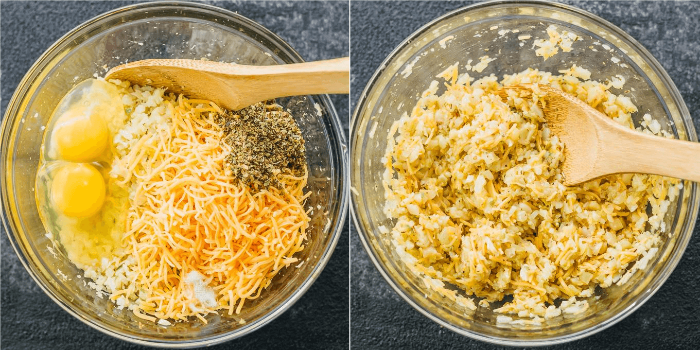 Mixing ingredients for cauliflower flatbread including eggs, cheddar cheese, riced cauliflower, and pepper