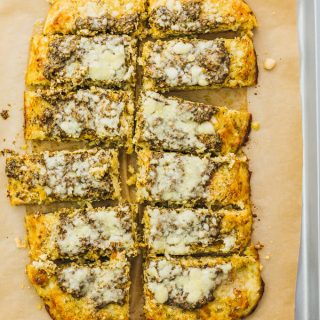 Cauliflower Flatbread with Pesto and Parmesan