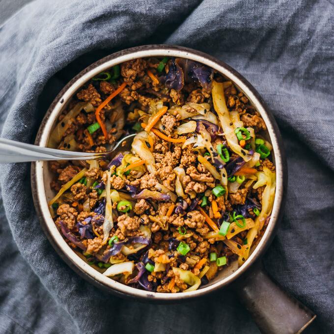 ground beef stir fry in serving bowl