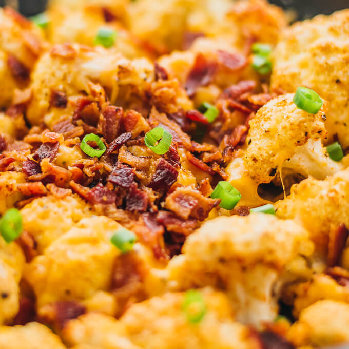 This easy roasted cauliflower is a super comforting low-carb meal, loaded with bacon and cheese.