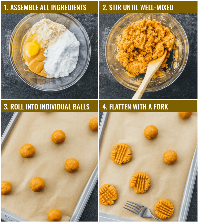 Collage of step by step photos showing how to make and shape low carb keto peanut butter cookies