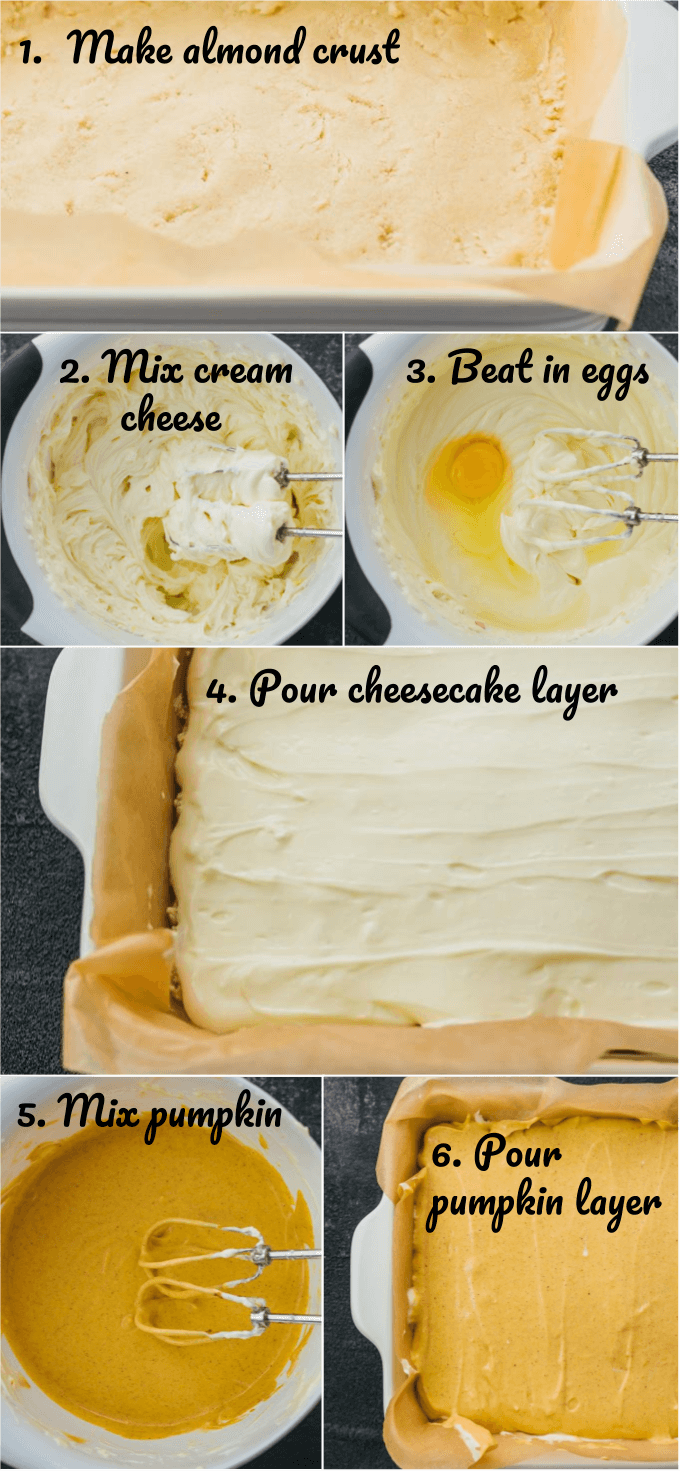 Step by step collage on how to make low carb pumpkin cheesecake bars including making the almond crust, mixing cream cheese, and making a pumpkin layer