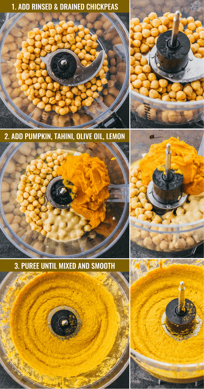 Collage of intermediate steps showing how to make pumpkin hummus in a food processor