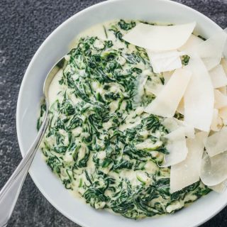 overhead view of creamed spinach