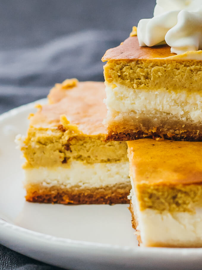 Close up view of pumpkin cheesecake bars that are keto and low carb for Thanksgiving