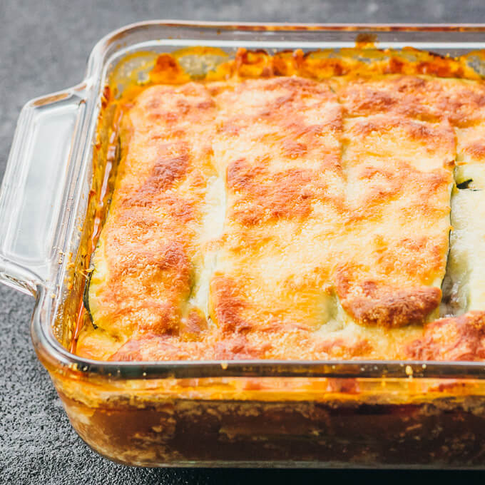 baked zucchini lasagna in glass baking dish