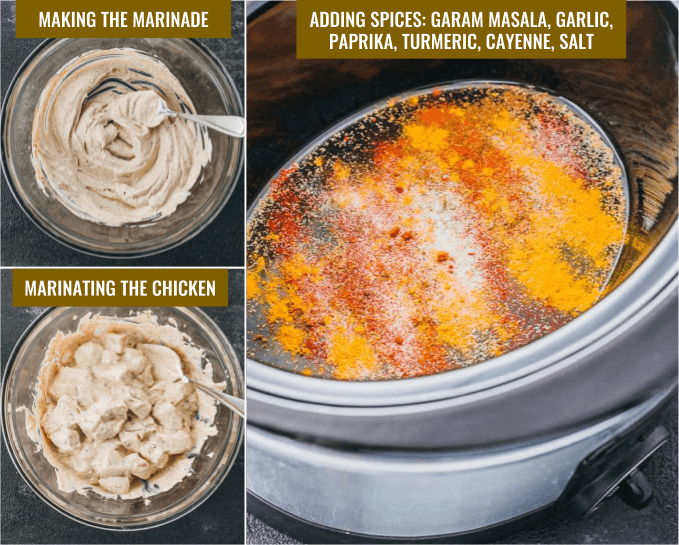 Step by step photo collage showing how to make chicken tikka masala in a slow cooker