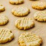 Low carb butter cookies finish baking on the cookie sheet