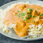 chicken tikka masala on plate with fork
