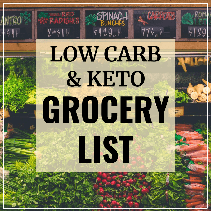 Grocery shopping list for low carb and keto groceries at the supermarket