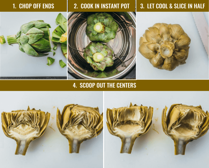 Individual steps showing how to prep and how to cook artichokes in the Instant Pot pressure cooker