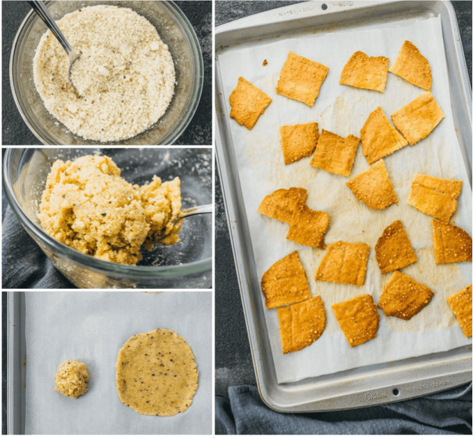 step by step collage showing how to make easy keto cheese crackers that are extra crispy