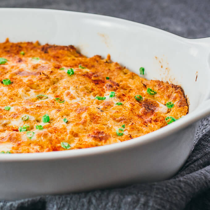 Hot crab dip in the baking dish,, fresh out of the oven