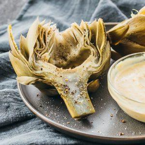 pressure cooked artichoke with garlic mustard dip