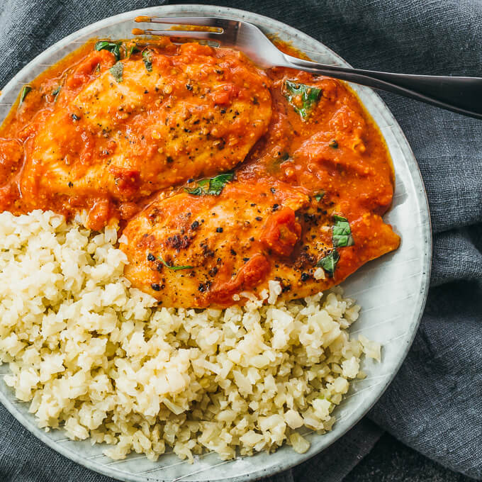 tomato chicken served with riced cauliflower