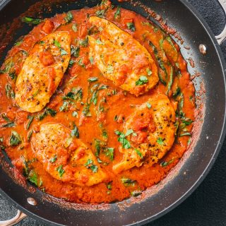 Tomato Chicken with Basil Garlic Sauce