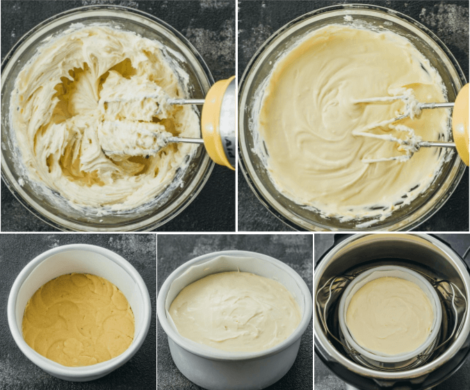 Step by step photos making cheesecake batter and almond crust for the instant pot pressure cooker