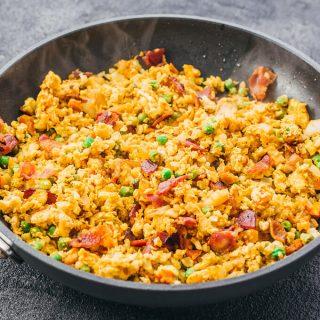 Bacon Kimchi Cauliflower Fried Rice