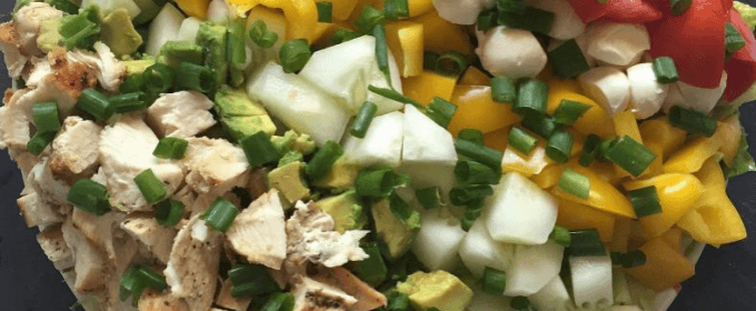 Chicken, avocado, and mozzarella chopped salad