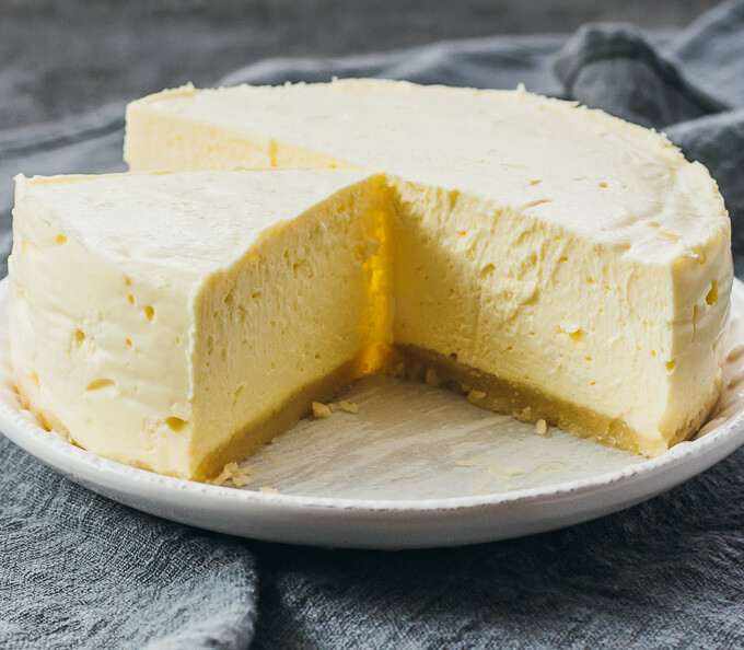 Low carb version of instant pot cheesecake served on a white plate