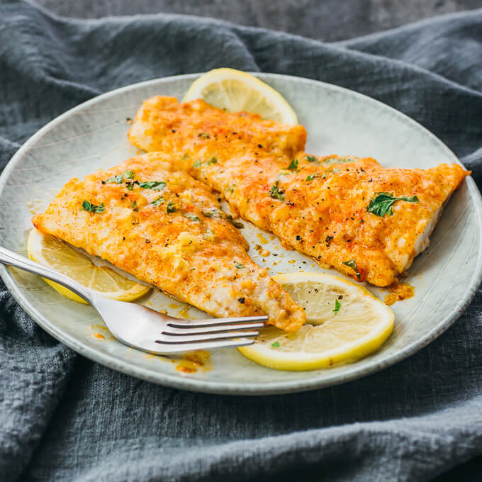 LEMON BAKED COD WITH PARMESAN CHEESE
