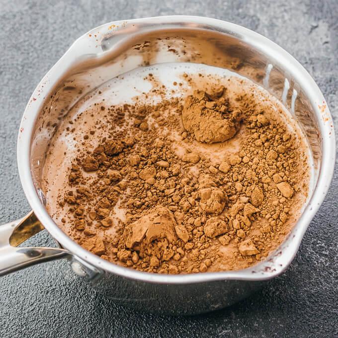 hot chocolate ingredients in saucepan