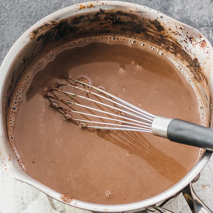 whisking hot chocolate mixture