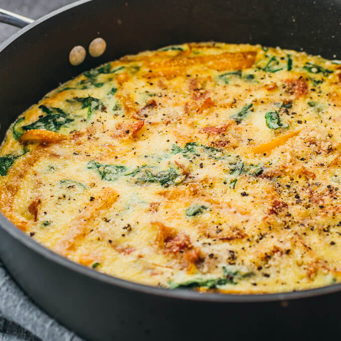 close up view of spinach frittata in pan