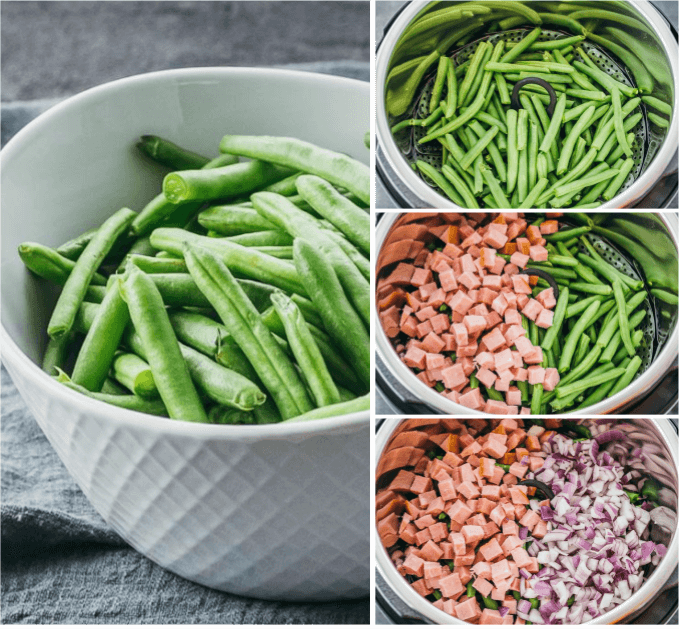 Collage showing how to cook green beans and ham and onions in the Instant Pot pressure cooker