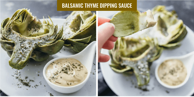 Showing how to make artichoke dipping sauces with mayo, thyme, and balsamic vinegar
