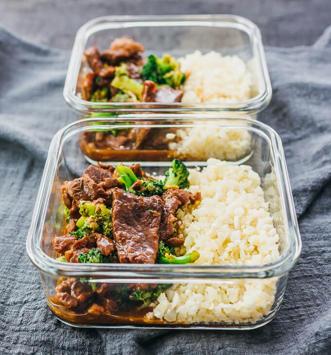 Meal prep for Instant Pot beef and broccoli with rice in glass containers
