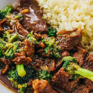 close up view of beef and broccoli
