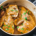 Instant Pot chicken marsala served in a bowl with mushrooms and a creamy brown sauce