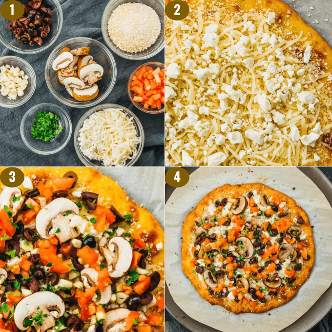 adding low carb greek style toppings and sauce to keto pizza crust