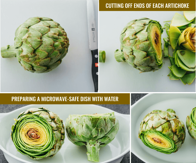 Preparing an artichoke to cook in the microwave