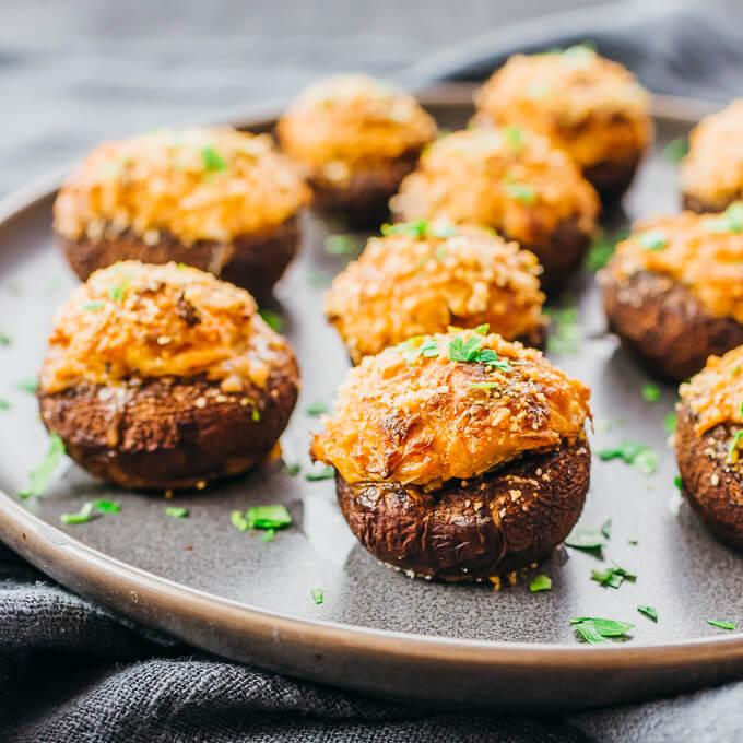 crab stuffed mushrooms served on plate