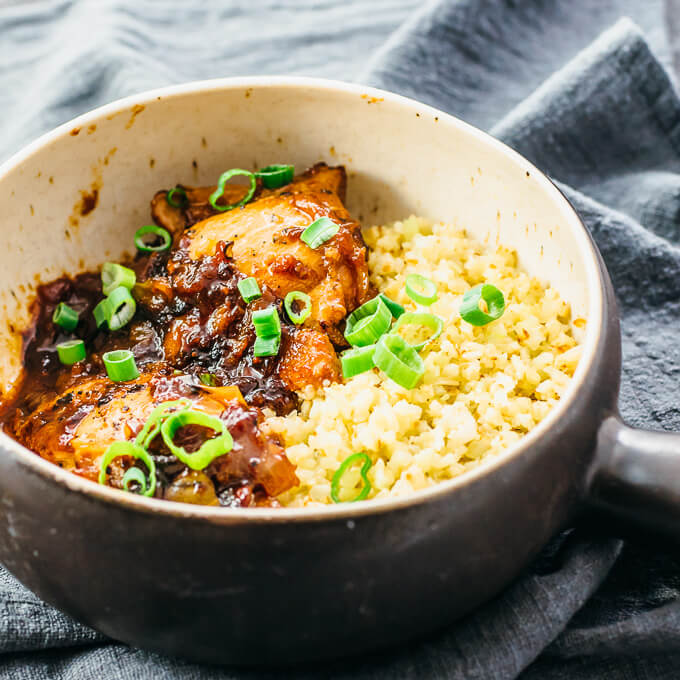 instant pot chicken adobo served with low carb cauliflower rice