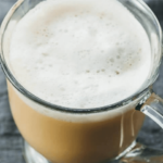 London Fog drink or earl grey tea latte with foam on top
