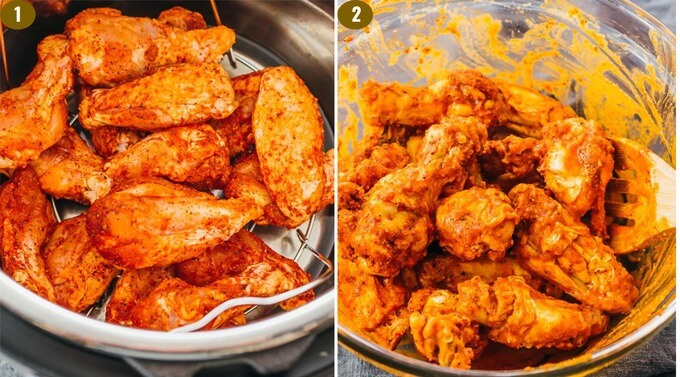 step by step how to make chicken wings in the pressure cooker with buffalo sauce